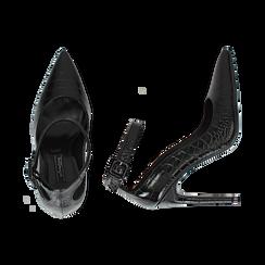 Décolleté nere in eco-pelle effetto coccodrillo, tacco 11 cm , Scarpe, 142182061CCNERO035, 003 preview