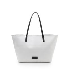 Maxi-bag bianca in eco-pelle con manici neri, Borse, 133783134EPBIANUNI, 001a