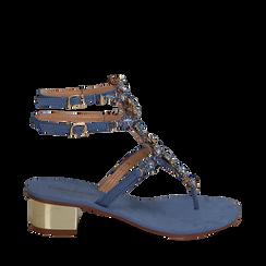Sandali gioiello infradito azzurri in microfibra, tacco 6 cm, Primadonna, 134986238MFAZZU035, 001a