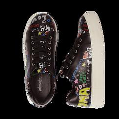 Sneakers nere in eco-pelle con scritte cartoon , Scarpe, 139301164EPNERO036, 003 preview
