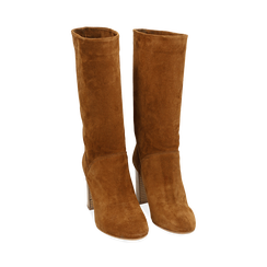 Bottes en daim marron, talon de 9 cm, Chaussures, 158900891CMRUGG036, 002 preview