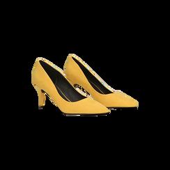 Décolleté scamosciate gialle con punta affusolata, tacco medio 7,5 cm, Scarpe, 122111552MFGIAL, 002 preview
