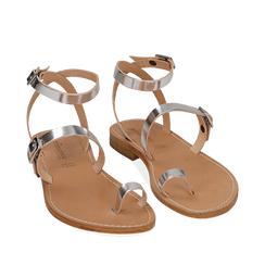 Sandali argento laminato, Primadonna, 158100570LMARGE036, 002a