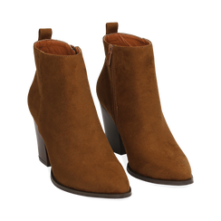 Ankle boots cuoio in microfibra, tacco 8,50 cm, Primadonna, 160585965MFCUOI035, 002 preview
