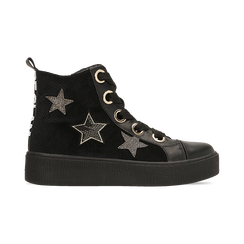 Sneakers nere in velluto con stelle , Scarpe, 121617684VLNERO, 001 preview