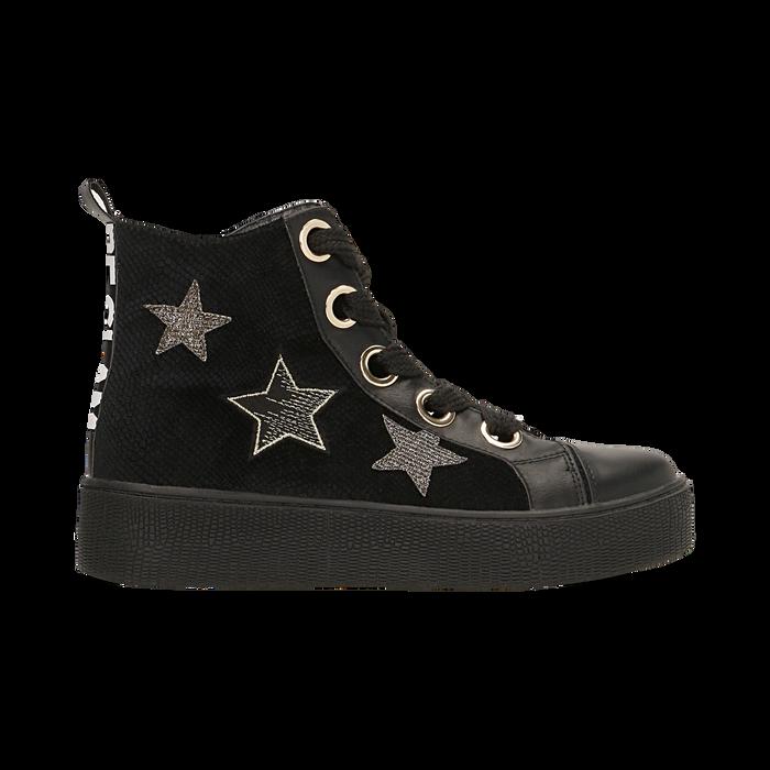 Sneakers nere in velluto con stelle , Scarpe, 121617684VLNERO