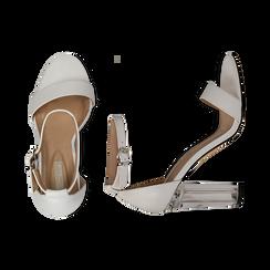 Sandali bianchi in eco-pelle, tacco plexi 10 cm , Sandali con tacco, 132708221EPBIAN037, 003 preview