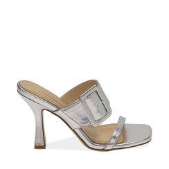 Sandali argento laminato, tacco 9 cm , 172183658LMARGE036, 001a