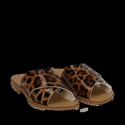 Mules flat leopard in vernice, Saldi Estivi, 136767002VELEMA035, 002a