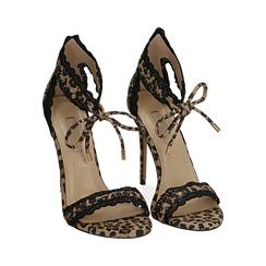 Sandali leopard in microfibra, tacco 11 cm, OUTLET, 152122111MFLEMA036, 002 preview
