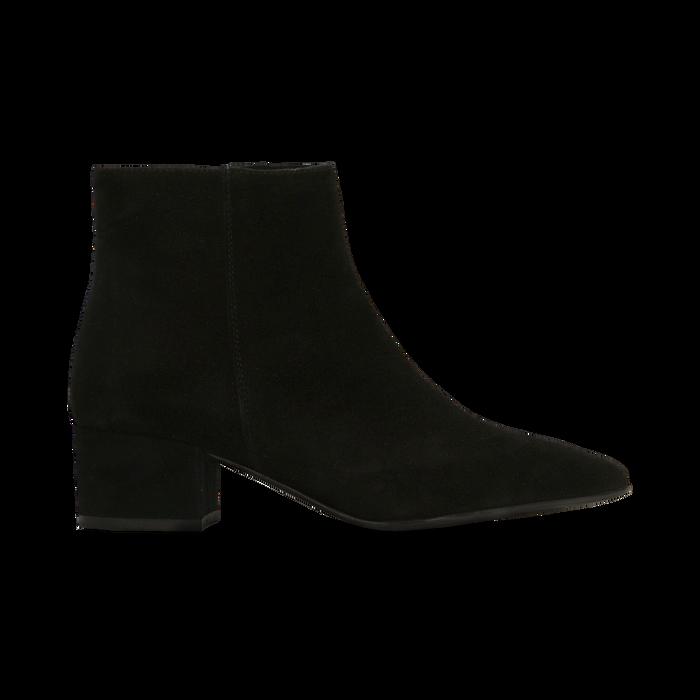 Tronchetti neri a punta, con tacco medio 4,5 cm, Primadonna, 127242325CMNERO036