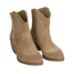 Santiags taupe en nubuck, talon 4 cm, Chaussures, 157732901CMTAUP036, 002a