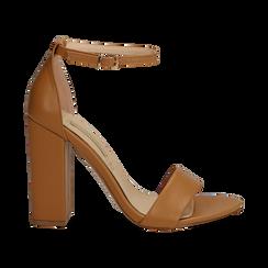 Sandali minimal cuoio in eco-pelle, tacco 10,5 cm , Sandali con tacco, 132133791EPCUOI037, 001 preview