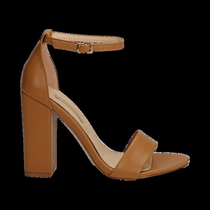 Sandali minimal cuoio in eco-pelle, tacco 10,5 cm , Sandali con tacco, 132133791EPCUOI037