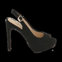 Escarpins noir en microfibre à bout ouvert, talon 12 cm , Chaussures, 152182185MFNERO038, 001 preview