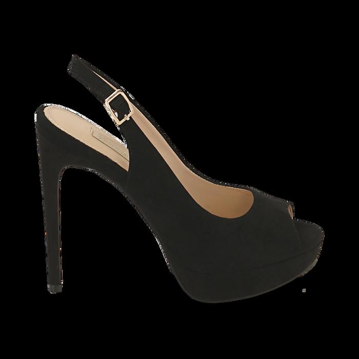 Escarpins noir en microfibre à bout ouvert, talon 12 cm , Chaussures, 152182185MFNERO038