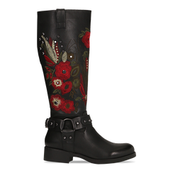 Stivali neri con ricami folk, tacco 3,5 cm, Scarpe, 122808626EPNERO, 001 preview