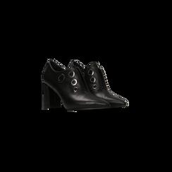 Tronchetti neri con oblò metallo, tacco 7 cm, 128405082EPNERO036, 002