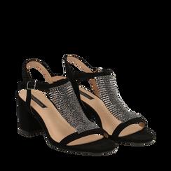 Sandalo nero in microfibra con strass, tacco 6,50 cm, Scarpe, 134956322MFNERO035, 002a