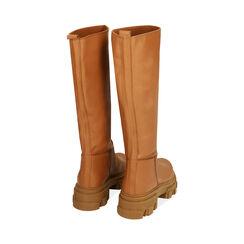 Stivali cognac in pelle di vitello, tacco 4 cm, Primadonna, 17L666810VICOGN038, 003 preview