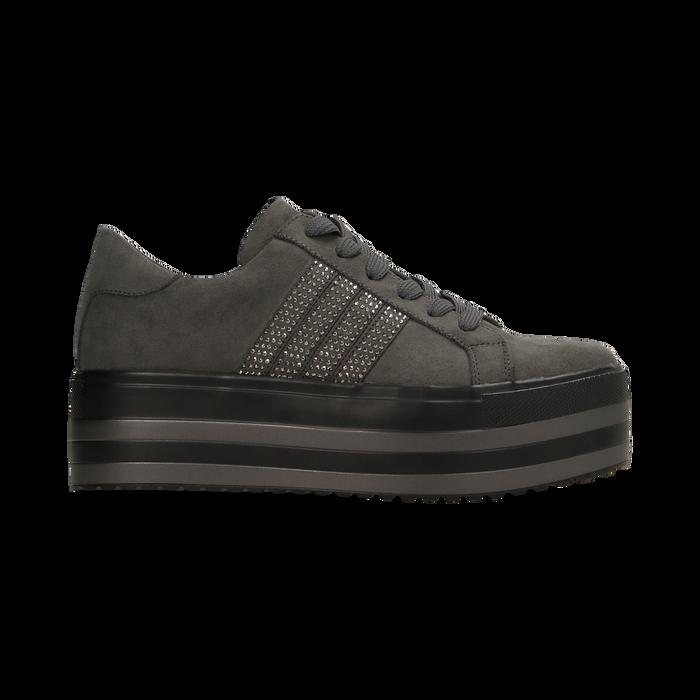 Sneakers grigie suola platform multistrato, Scarpe, 122818575MFGRIG