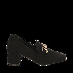 Mocasines en microfibra color negro con maxi-cadena, tacón 6 cm, Primadonna, 164981001MFNERO036, 001a