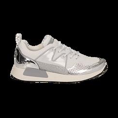 Sneakers bianche in tessuto tecnico dettagli glitter, Scarpe, 132619190TSBIAN036, 001 preview
