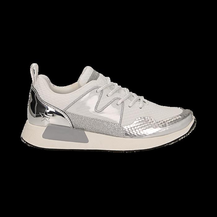 Sneakers bianche in tessuto tecnico dettagli glitter, Scarpe, 132619190TSBIAN036