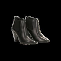 Chelsea Boots neri in vera pelle, tacco a cono 9 cm, Primadonna, 12D613910VINERO035, 002
