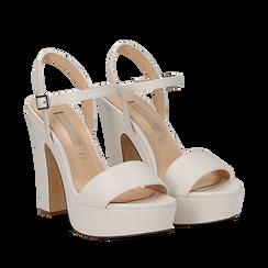 Sandali con plateau bianchi in eco-pelle, tacco 13 cm , Sandali con tacco, 138404164EPBIAN035, 002a