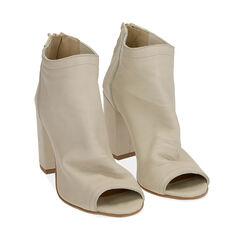 Tronchetti open toe panna in pelle, tacco 9 cm , Primadonna, 17A517014PEPANN039, 002a