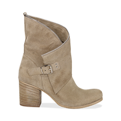 Ankle boots taupe in vero camoscio, tacco 9 , Scarpe, 135600421CMTAUP036, 001 preview