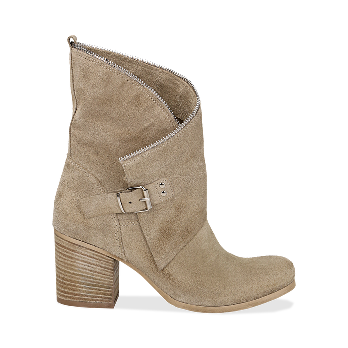 Ankle boots taupe in vero camoscio, tacco 9 , Scarpe, 135600421CMTAUP036