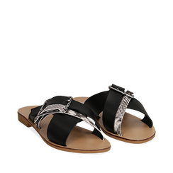 Mules nere in vera pelle con dettagli snake skin, Primadonna, 133500088PENERO035, 002a