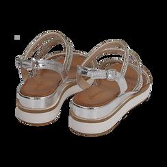 Sandali argento in eco-pelle con strass, zeppa 4,50 cm , Primadonna, 154952722ETARGE035, 004 preview