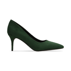 Décolleté scamosciate verdi con punta affusolata, tacco medio 7,5 cm, Scarpe, 122111552MFVERD, 001 preview