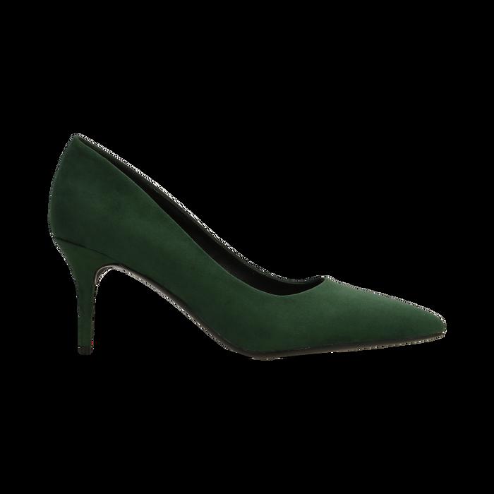 Décolleté scamosciate verdi con punta affusolata, tacco medio 7,5 cm, Scarpe, 122111552MFVERD