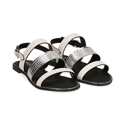 Sandali bianchi in eco-pelle, Saldi, 113006512EPBIAN036, 002 preview