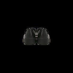 Mocassini neri con suola alta, tacco basso, Scarpe, 120639018EPNERO, 003 preview