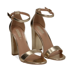 Sandali oro in laminato, tacco 10,50 cm , Primadonna, 132706086LMOROG035, 002a