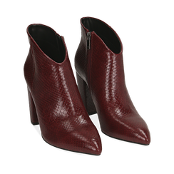 Ankle boots bordeaux stampa vipera, tacco 9 cm , Primadonna, 164916101EVBORD035, 002a