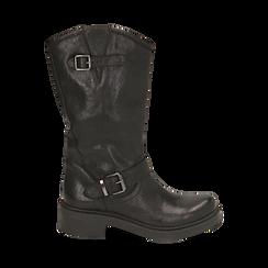 Biker boots neri in pelle con doppia  fibbia, Stivaletti, 147200826PENERO035, 001a