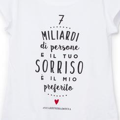 T-shirt bianca in tessuto con stampa nera minimal , Abbigliamento, 13I730073TSBIANL, 002a