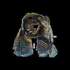 Pashmina marrone in tessuto stampa patchwork, Abbigliamento, 14B404027TSMARRUNI, 002 preview