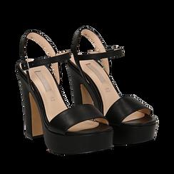 Sandali con plateau neri in eco-pelle, tacco 13 cm , Sandali con tacco, 138404164EPNERO035, 002a