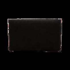 Pochette nera in microfibra scamosciata con profili borchiette, Saldi, 123308832MFNEROUNI, 002 preview
