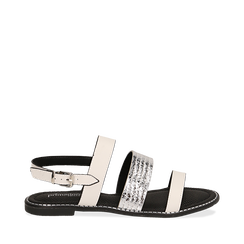 Sandali bianchi in eco-pelle, Saldi Estivi, 113006512EPBIAN035, 001a