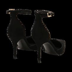 Décolleté nere in microfibra, tacco stiletto 9 cm , Scarpe, 142110617MFNERO035, 004 preview