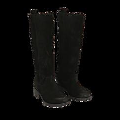 Stivali neri in camoscio, tacco 4 cm , Scarpe, 145600092CMNERO036, 002a