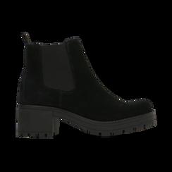 Chelsea Boots neri in vero camoscio, tacco medio 5,5 cm, Scarpe, 127723509CMNERO, 001 preview